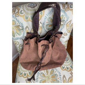 Lucky Brown Suede Bohemian Drawstring Bucket Bag